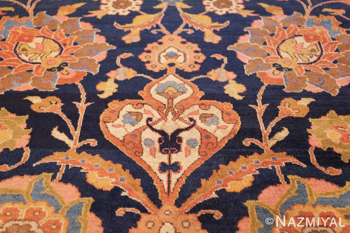 navy background large antique tabriz persian rug 49476 tiara Nazmiyal