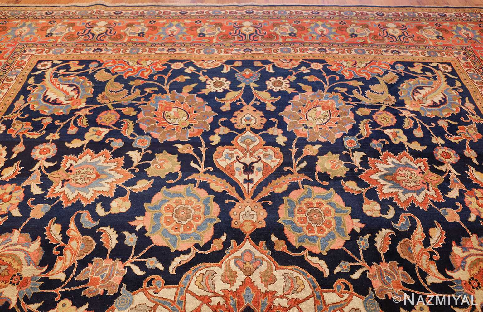 navy background large antique tabriz persian rug 49476 top Nazmiyal