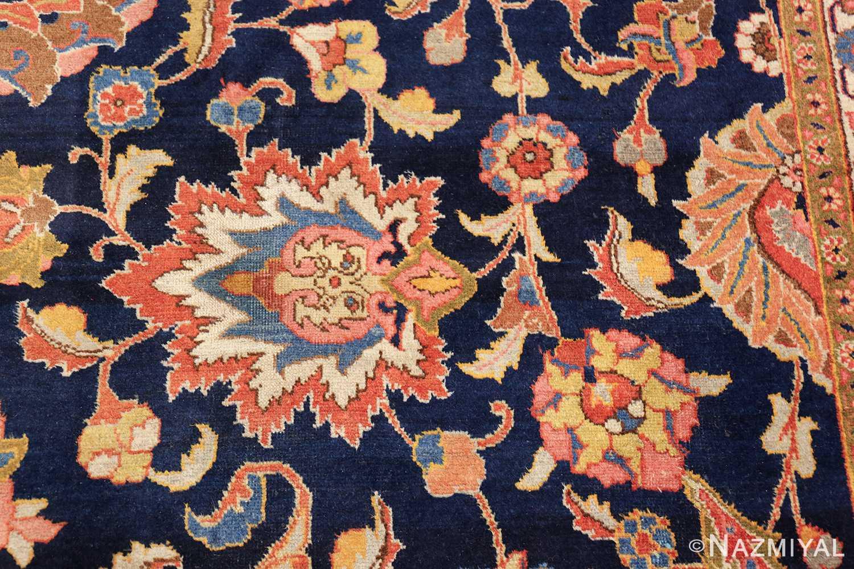 navy background large antique tabriz persian rug 49476 white leaf Nazmiyal
