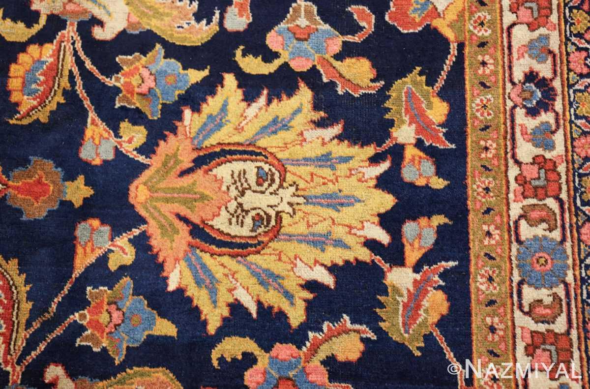 navy background large antique tabriz persian rug 49476 yellow leaf Nazmiyal
