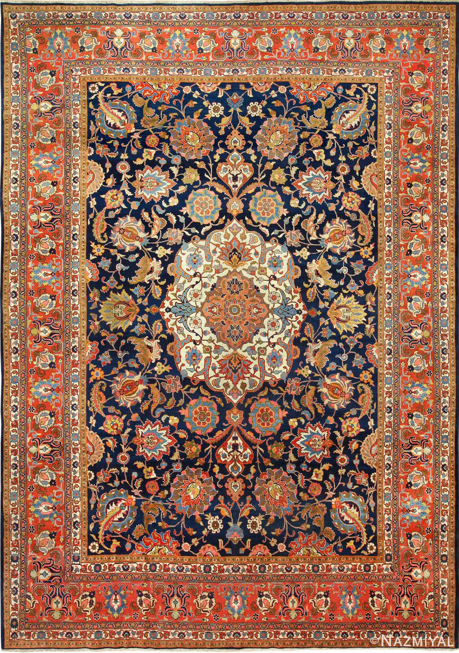 Large Navy Blue Background Antique Persian Tabriz Rug 49476