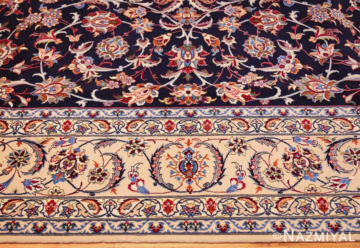 navy background silk and wool isfahan persian rug 49534 border Nazmiyal