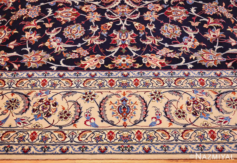 navy background silk and wool isfahan persian rug 49534 border Nazmiyal