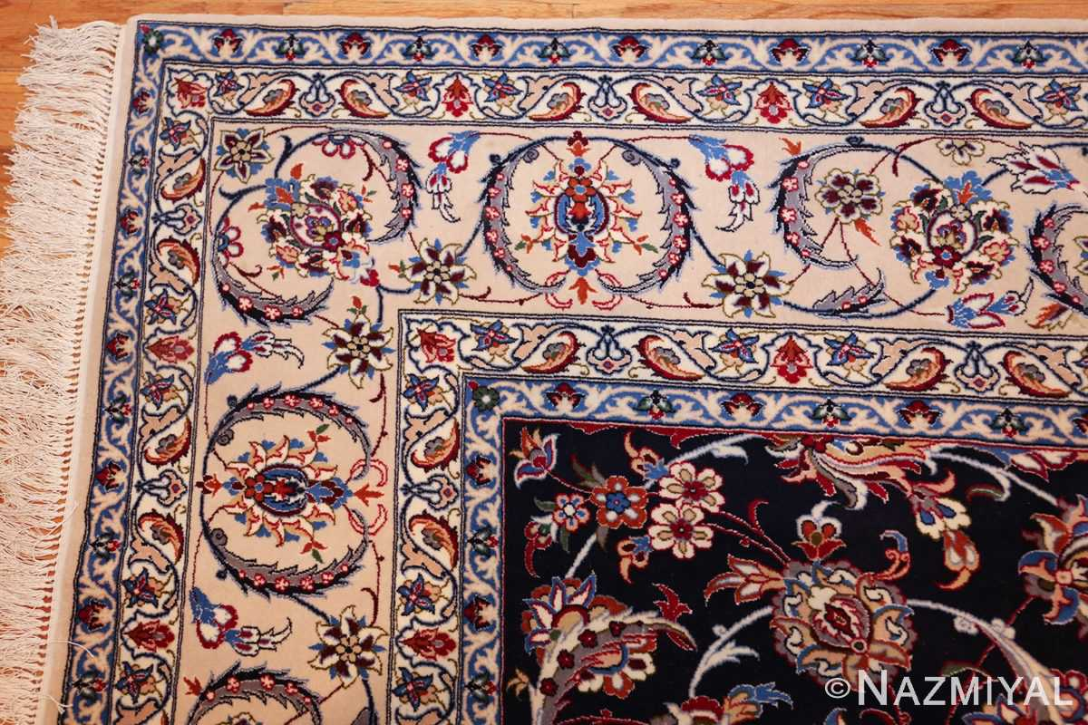 navy background silk and wool isfahan persian rug 49534 corner Nazmiyal