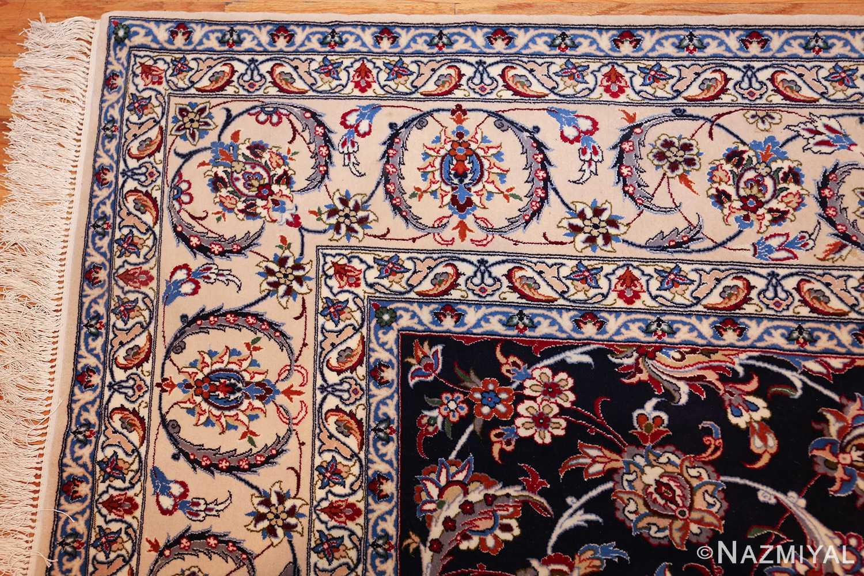 navy background silk and wool isfahan persian rug 49534 corner Nazmiyal
