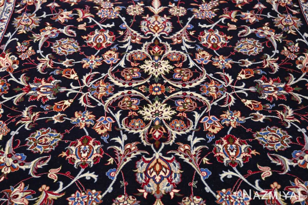 navy background silk and wool isfahan persian rug 49534 field Nazmiyal