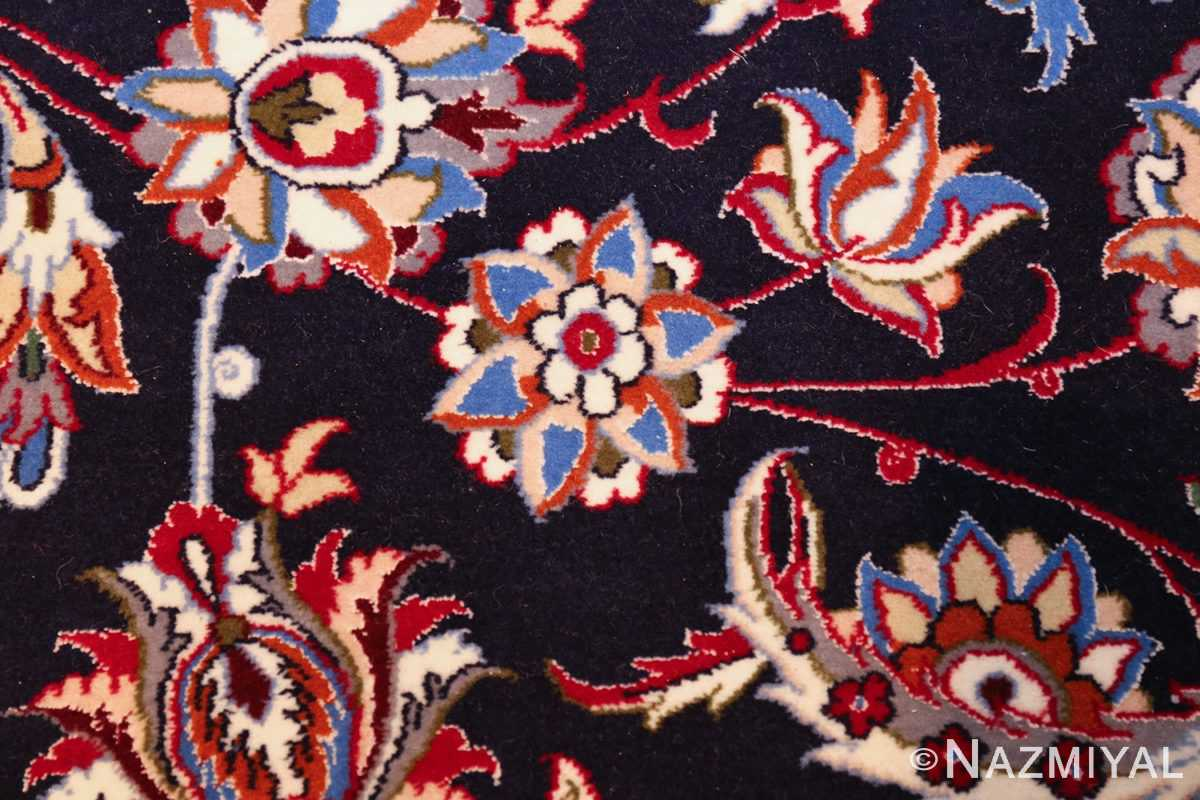 navy background silk and wool isfahan persian rug 49534 flower Nazmiyal