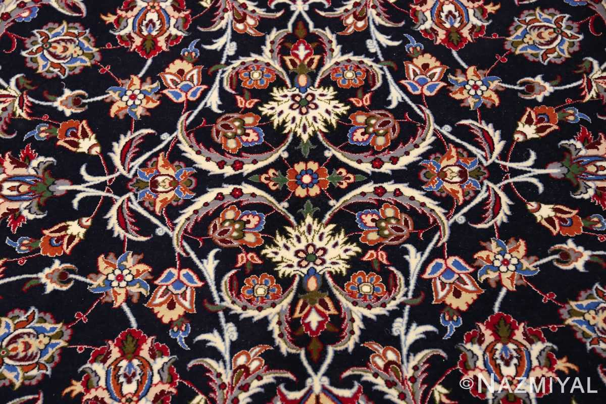 navy background silk and wool isfahan persian rug 49534 medallion Nazmiyal