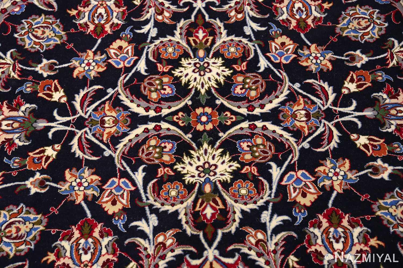 navy background silk and wool isfahan persian rug 49534 medallion Nazmiyal