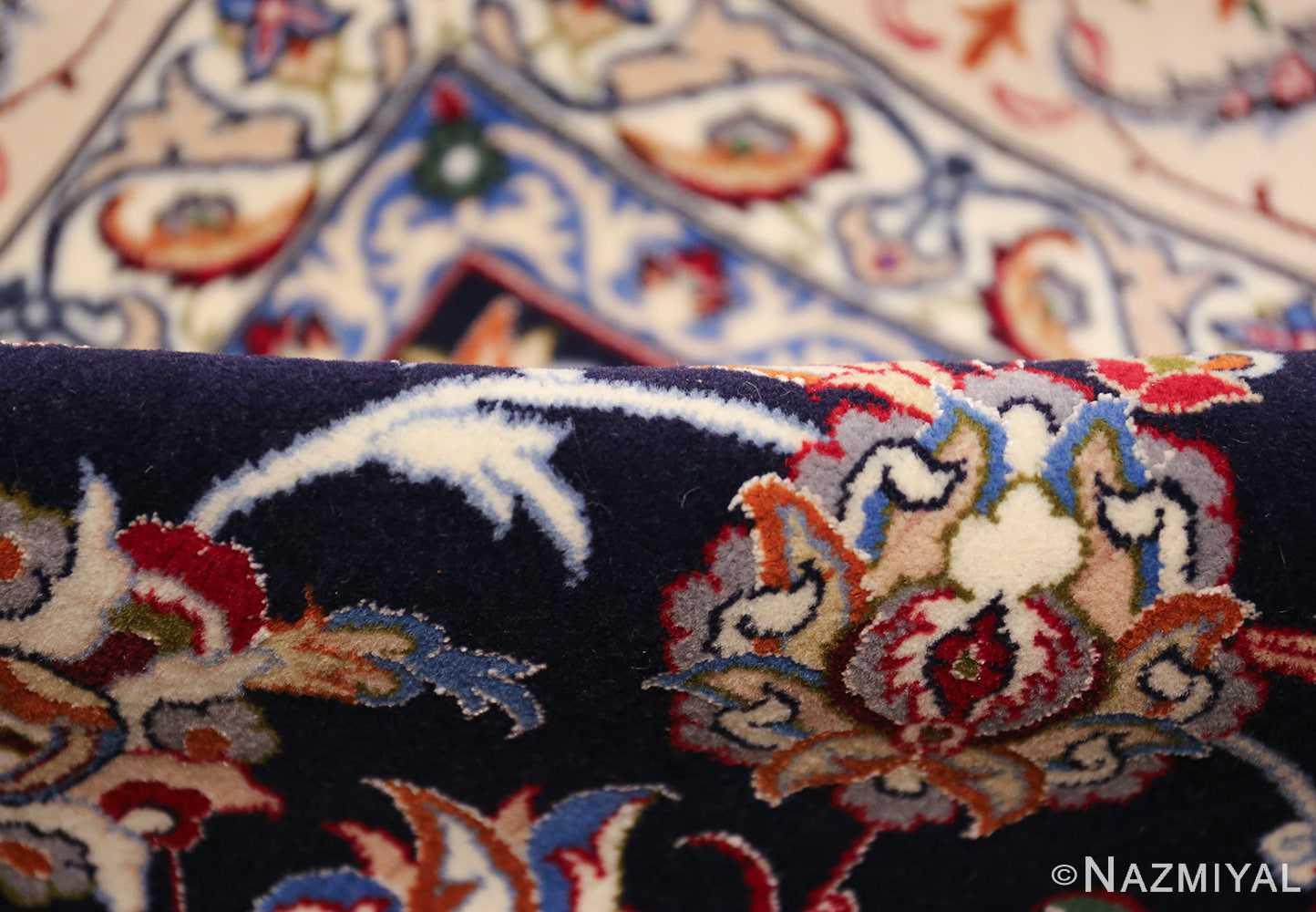 navy background silk and wool isfahan persian rug 49534 pile Nazmiyal