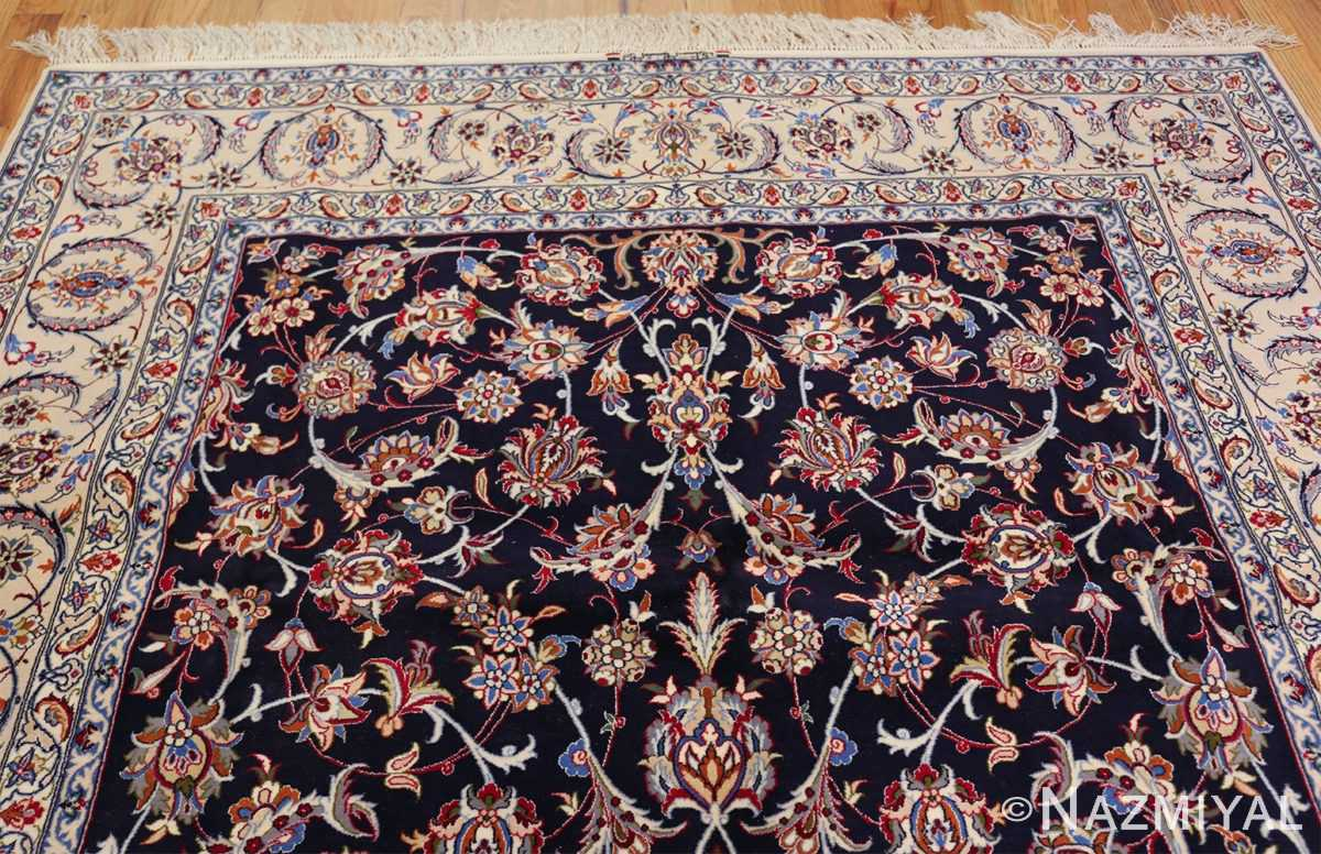 navy background silk and wool isfahan persian rug 49534 top Nazmiyal
