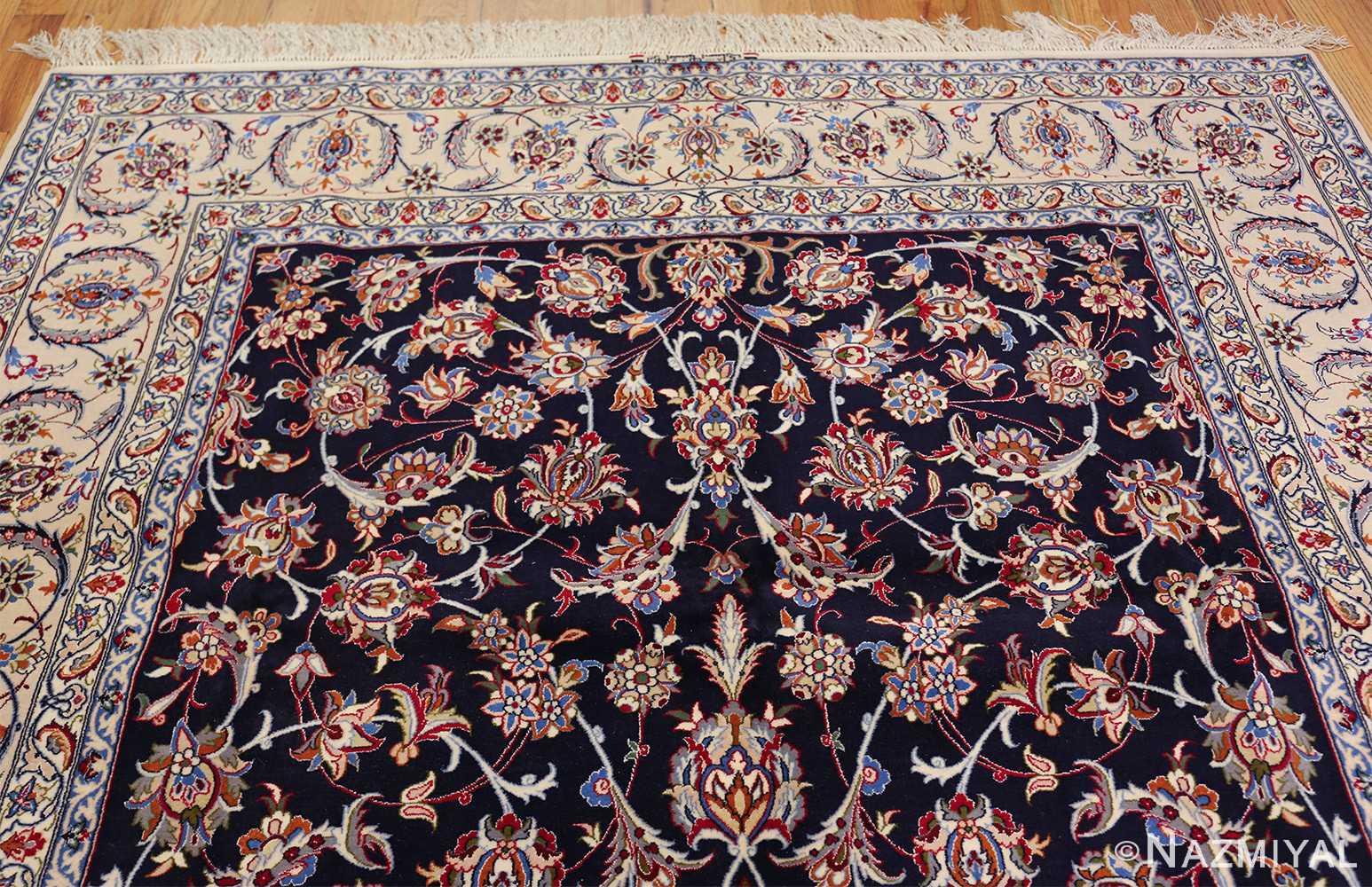 navy background silk and wool isfahan persian rug 49534 top Nazmiyal