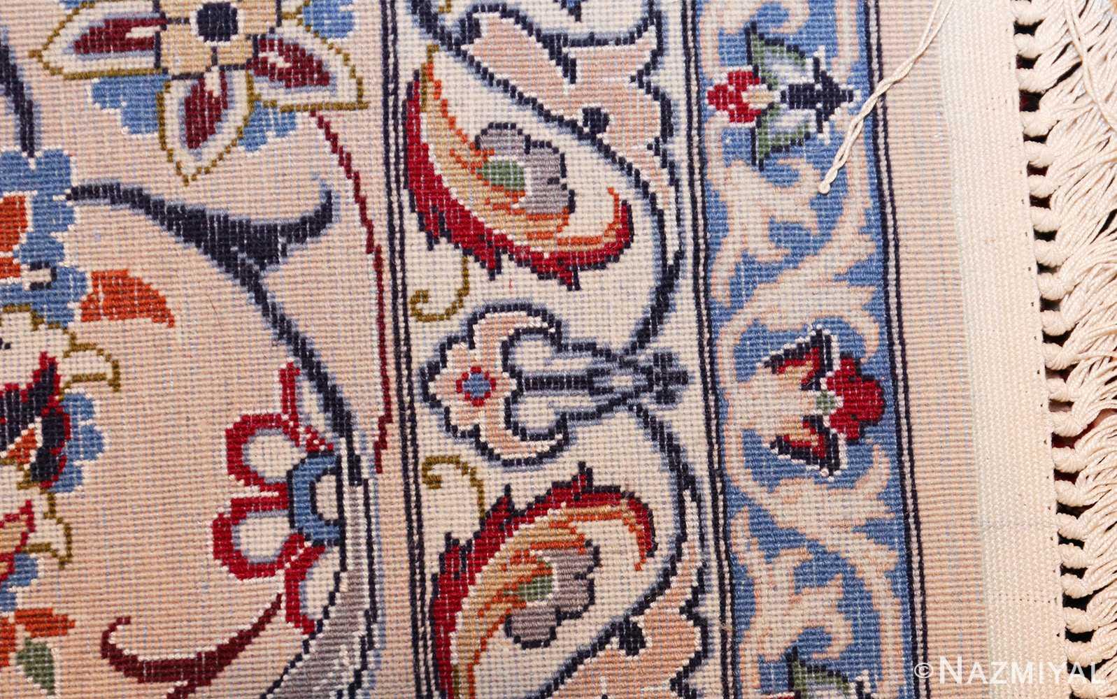 navy background silk and wool isfahan persian rug 49534 weave Nazmiyal