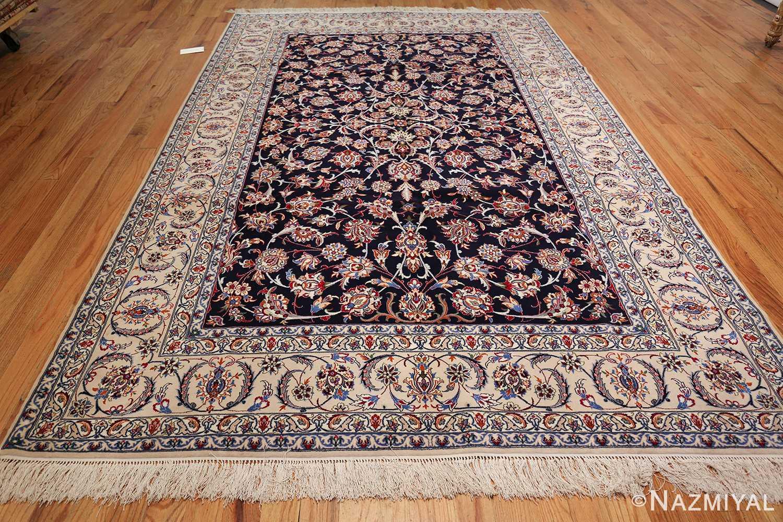 Blue Silk And Wool Modern Persian Isfahan Rug 49534 Nazmiyal Rugs