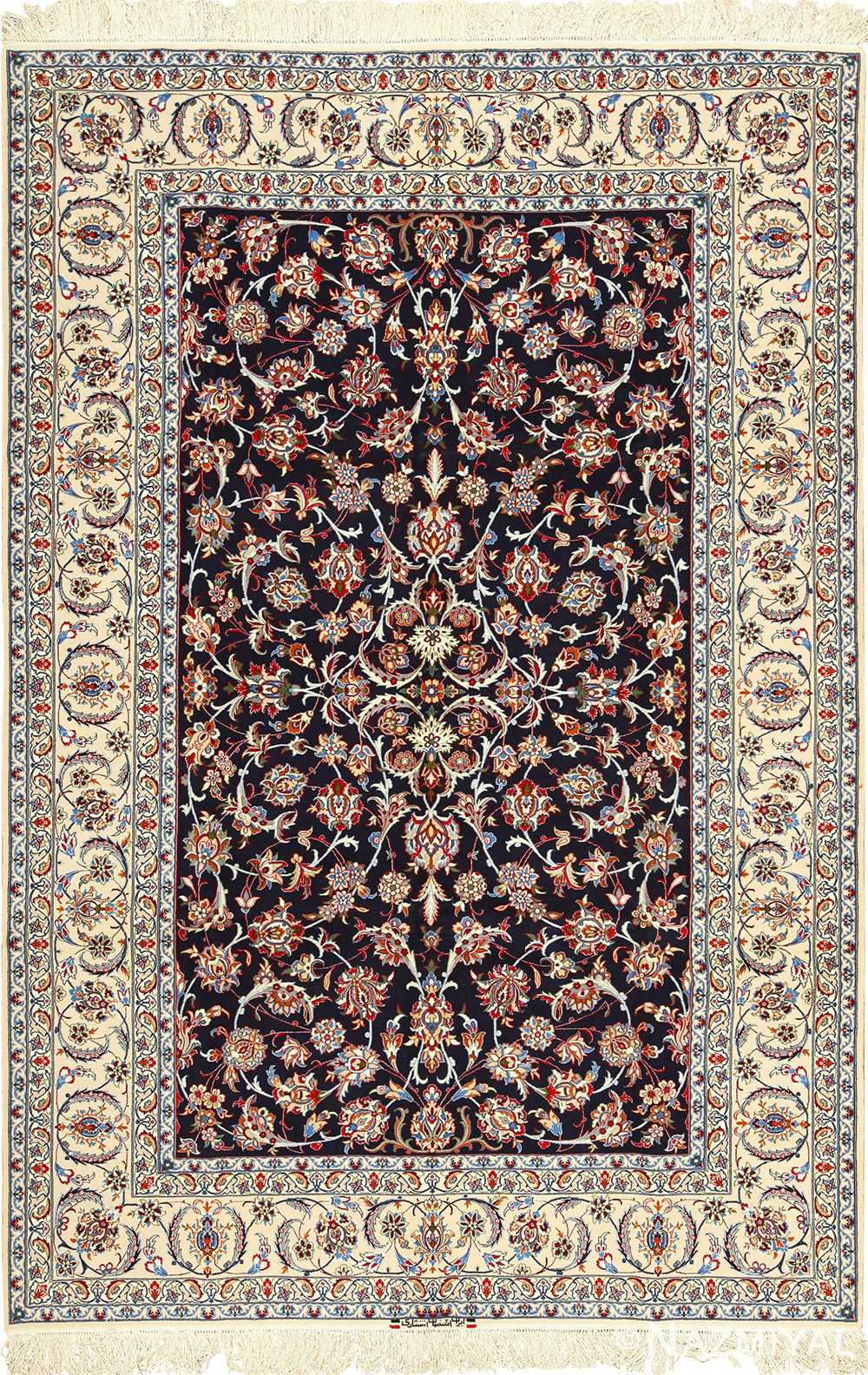 navy background silk and wool isfahan persian rug 49534 Nazmiyal