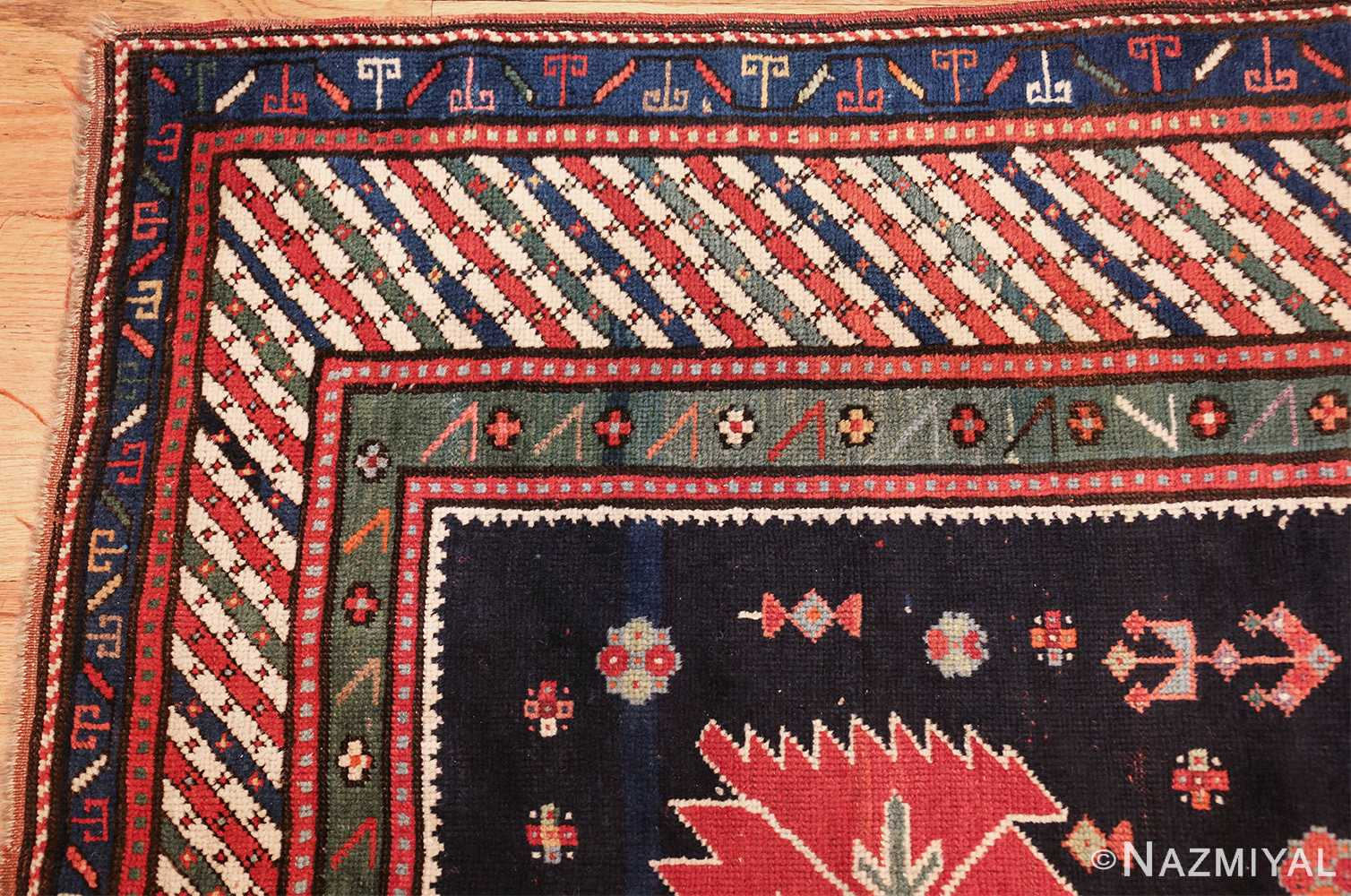 navy blue antique tribal caucasian kazak rug 49507 corner Nazmiyal