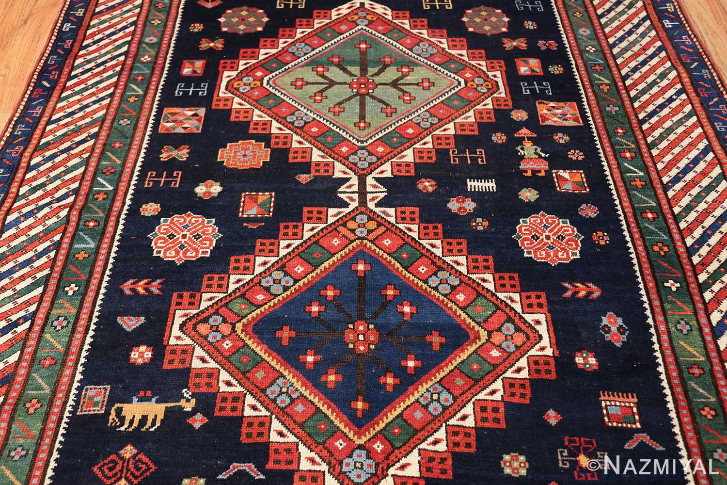 navy blue antique tribal caucasian kazak rug 49507 field Nazmiyal