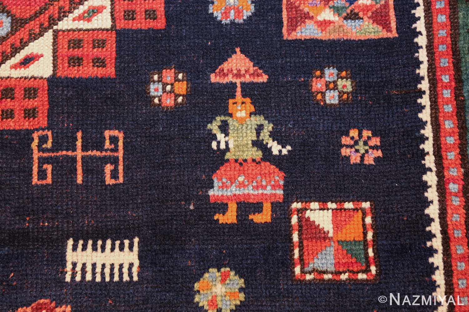 navy blue antique tribal caucasian kazak rug 49507 girl Nazmiyal