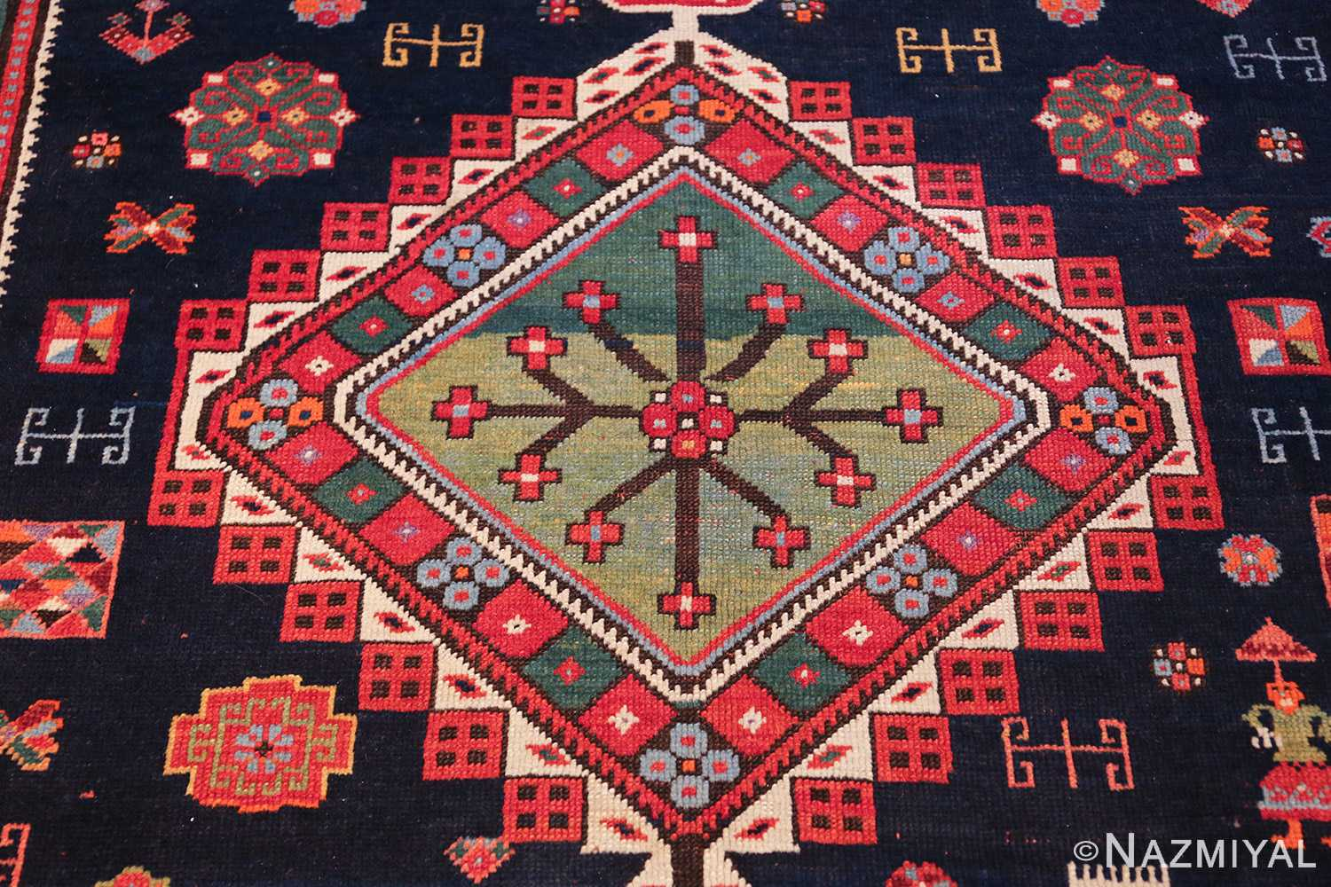 navy blue antique tribal caucasian kazak rug 49507 green medallion Nazmiyal