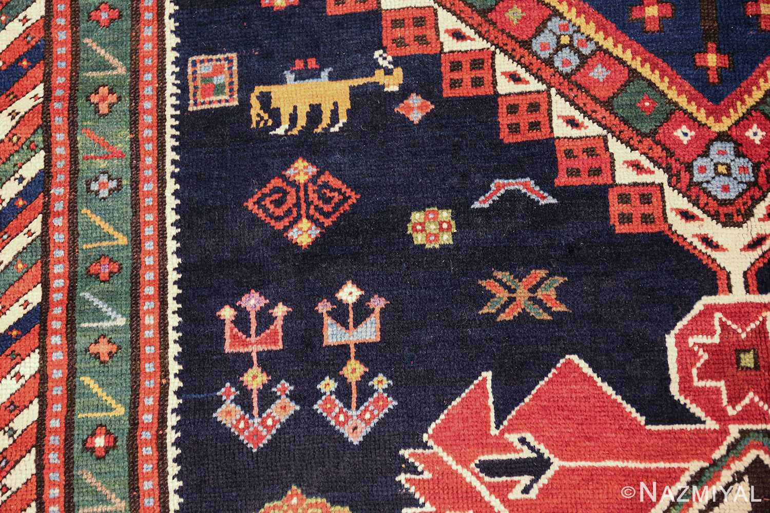 navy blue antique tribal caucasian kazak rug 49507 horse Nazmiyal