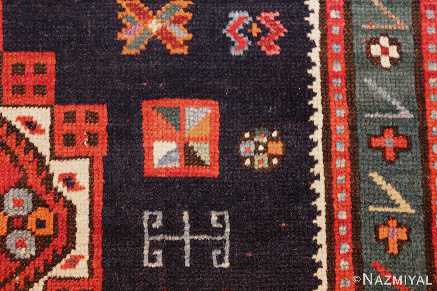 navy blue antique tribal caucasian kazak rug 49507 sign Nazmiyal