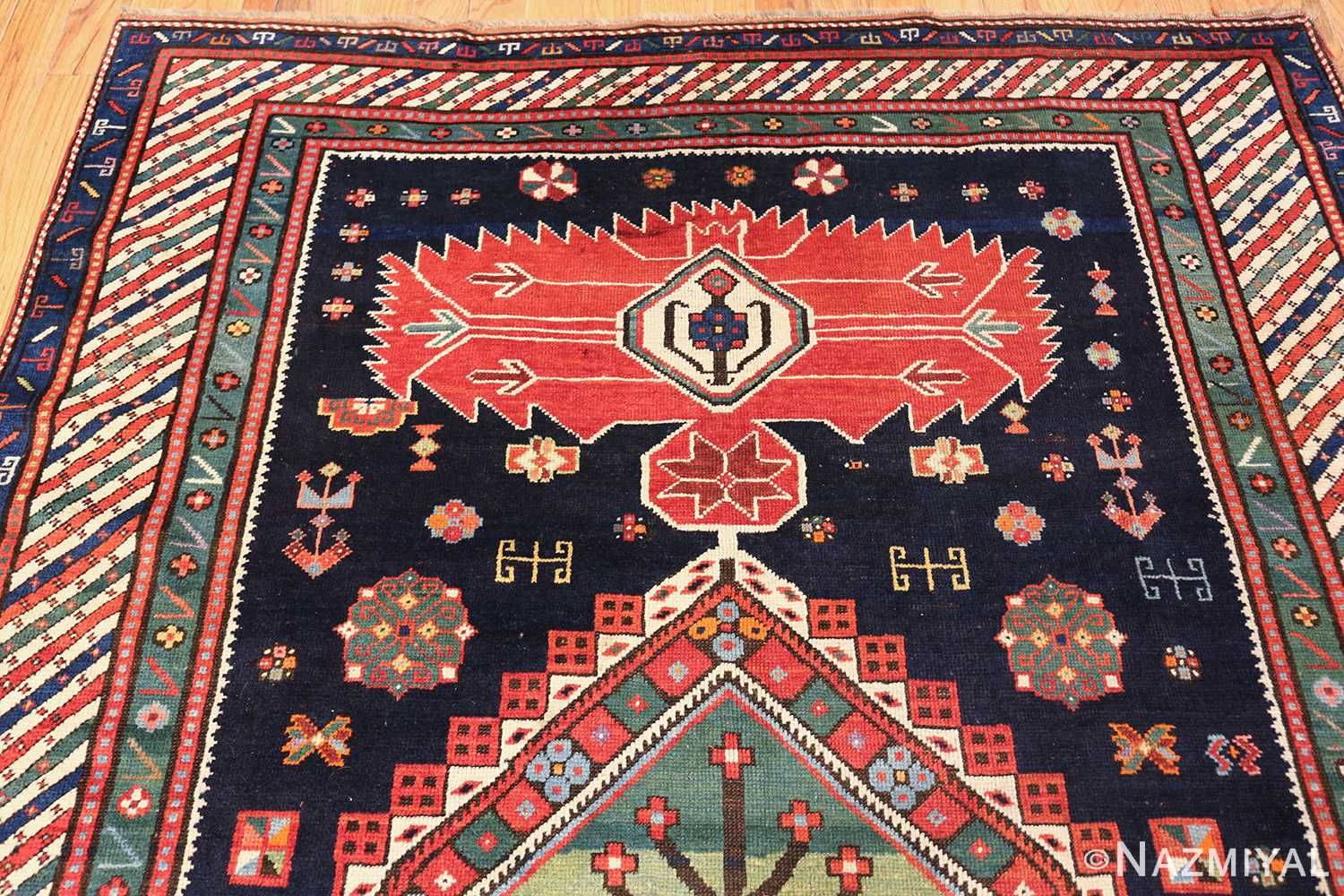 navy blue antique tribal caucasian kazak rug 49507 top Nazmiyal