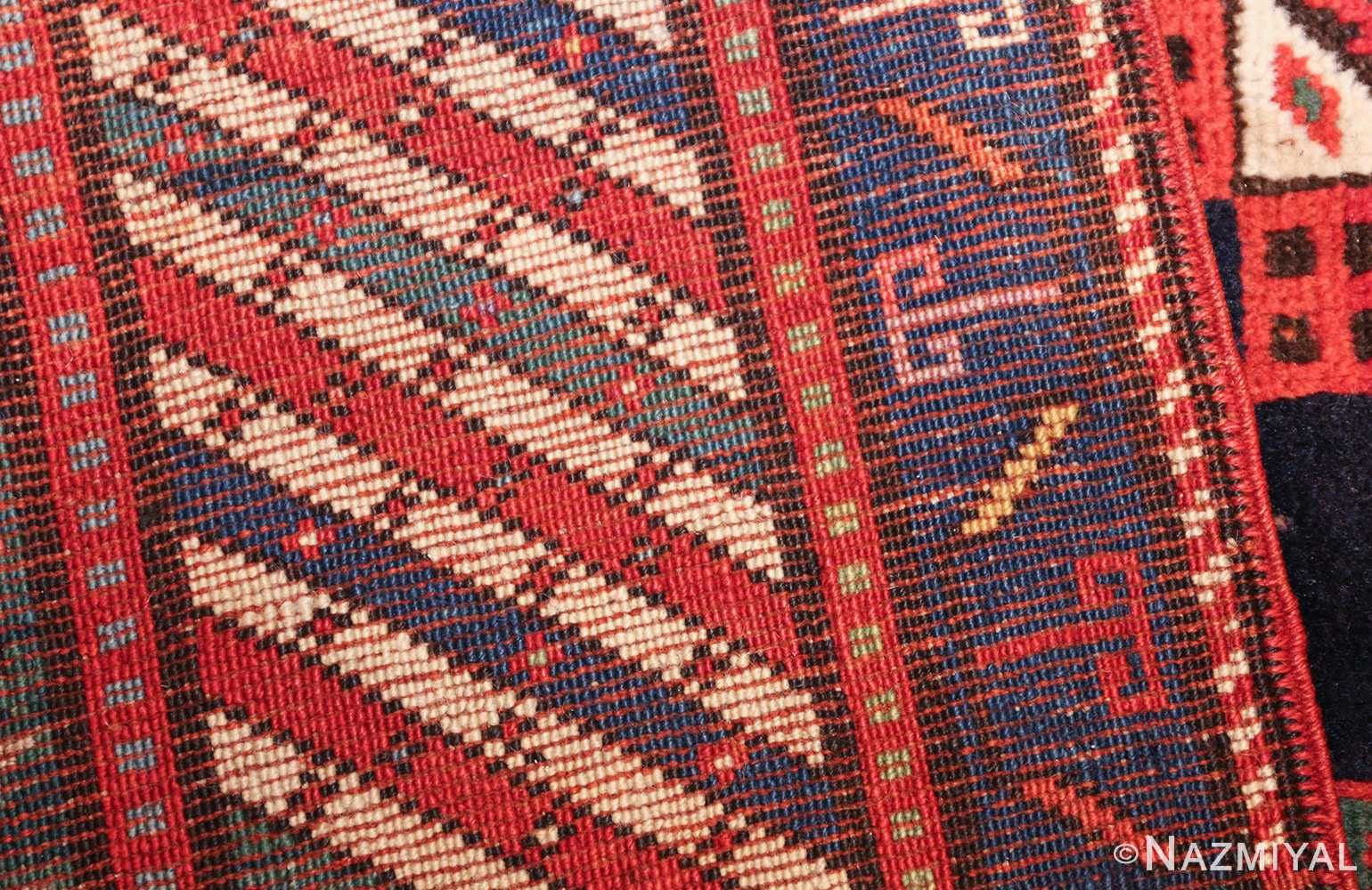 navy blue antique tribal caucasian kazak rug 49507 weave Nazmiyal