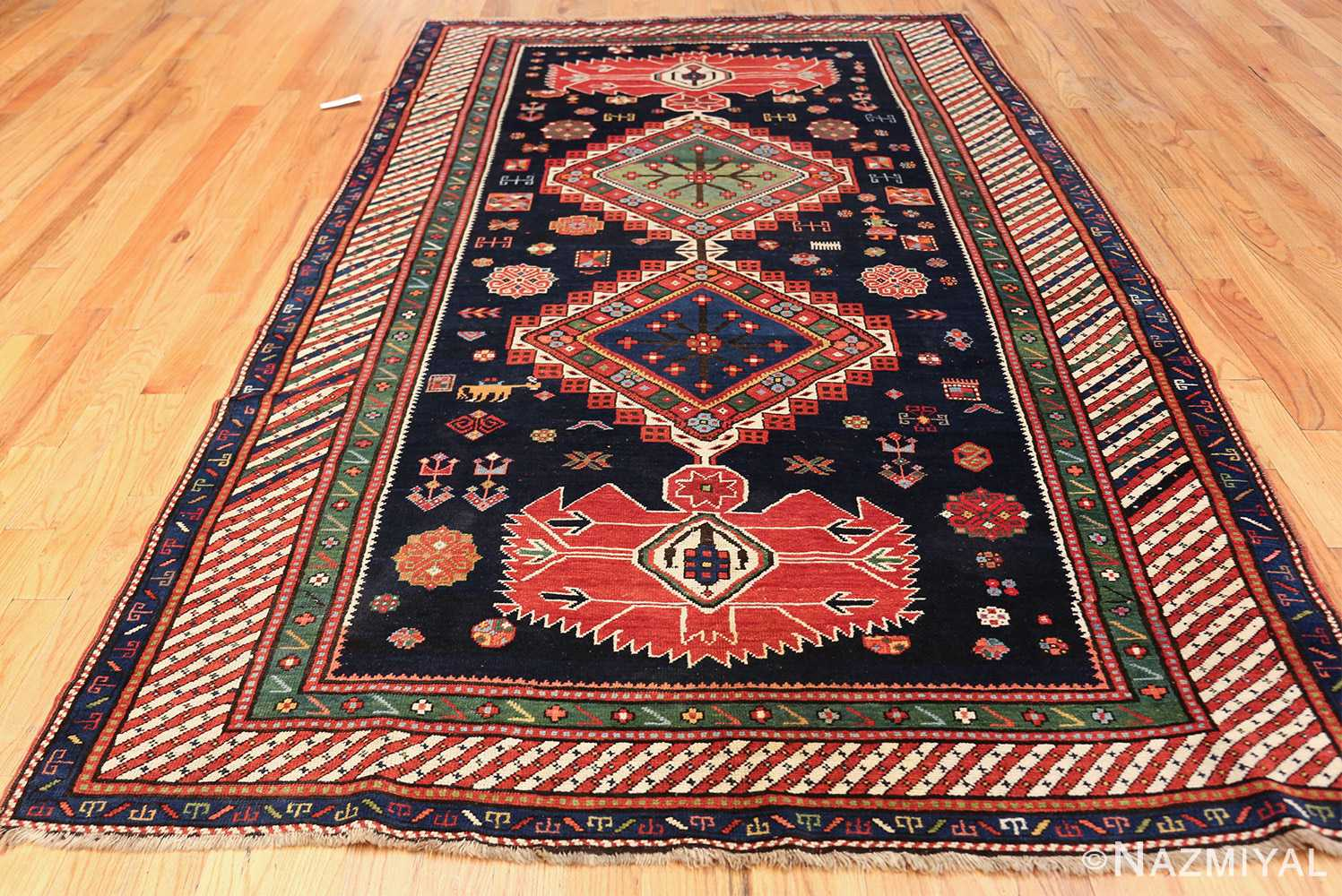 navy blue antique tribal caucasian kazak rug 49507 whole Nazmiyal