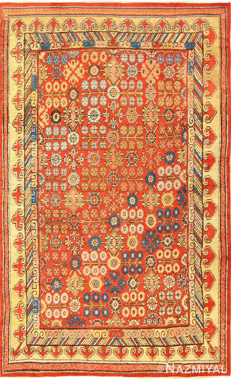 small antique red background khotan rug 49033 Nazmiyal