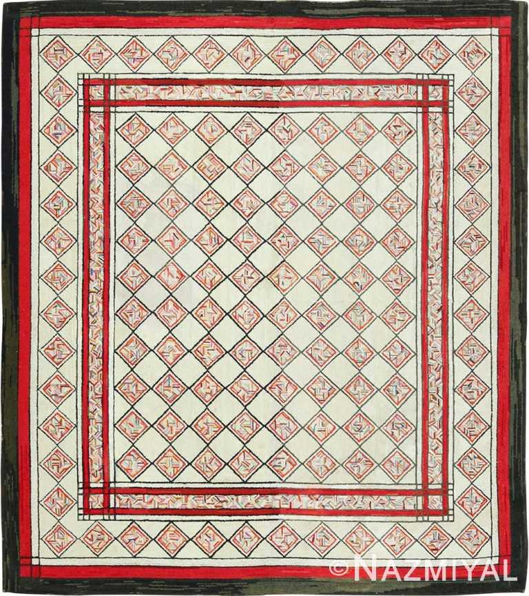 vintage art deco american hooked rug 49525 Nazmiyal