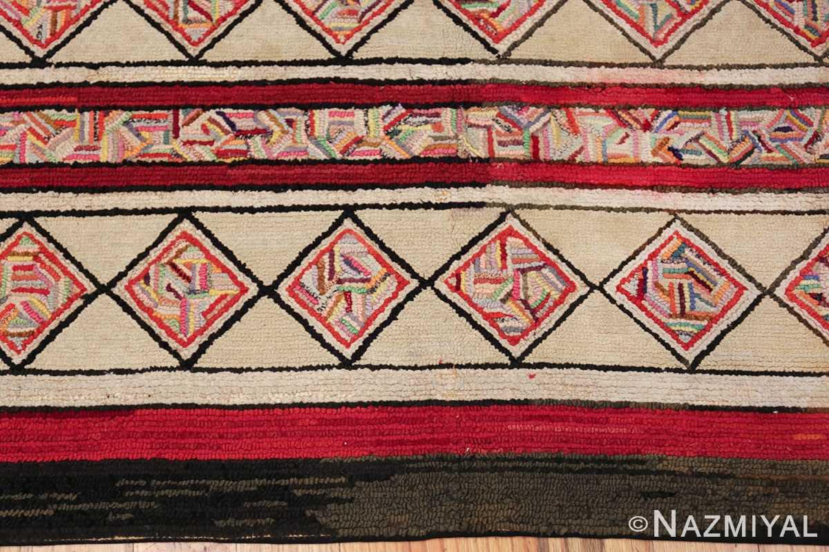 vintage art deco american hooked rug 49525 border Nazmiyal