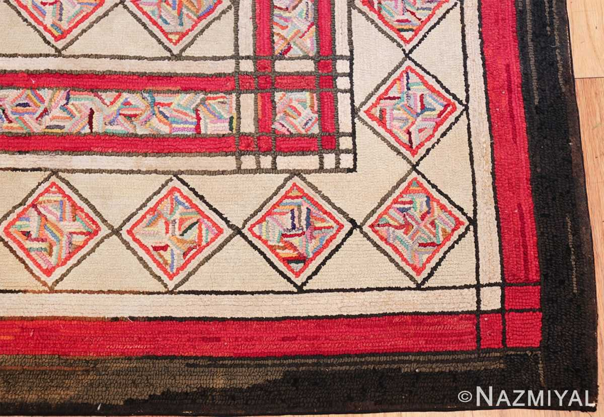 vintage art deco american hooked rug 49525 corner Nazmiyal