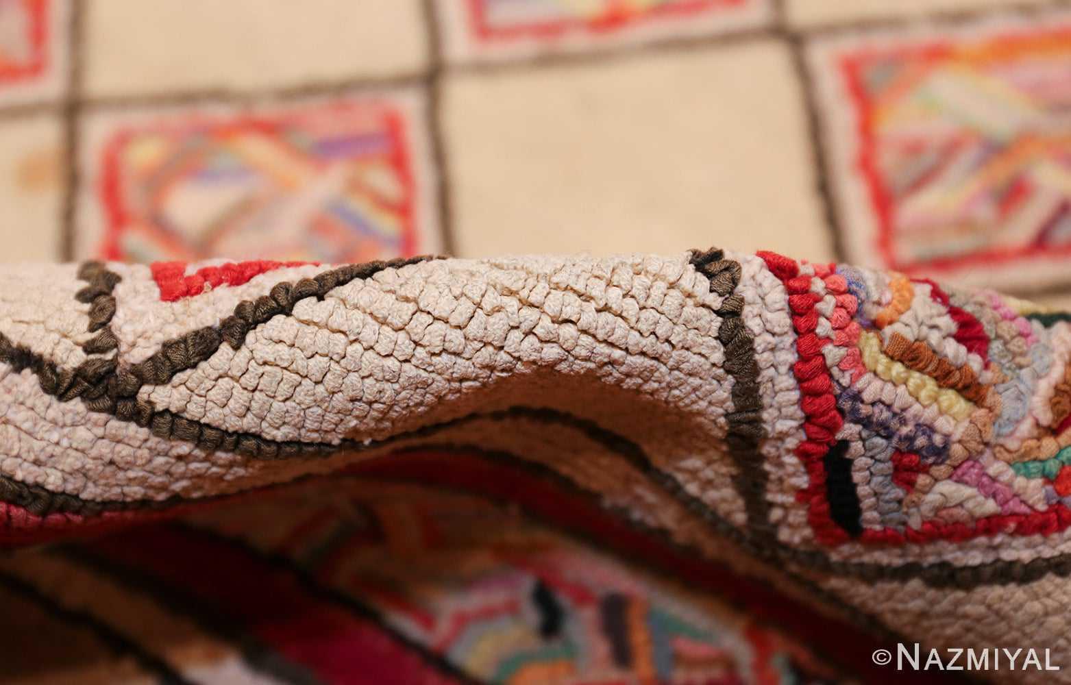 vintage art deco american hooked rug 49525 pile Nazmiyal