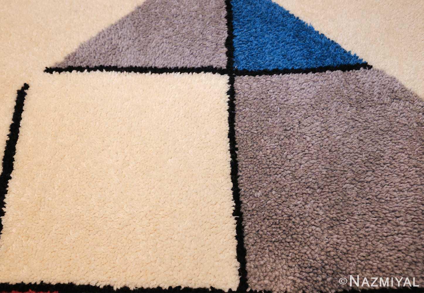 vintage modernist mondrian design scandinavian rug 49524 ivory Nazmiyal