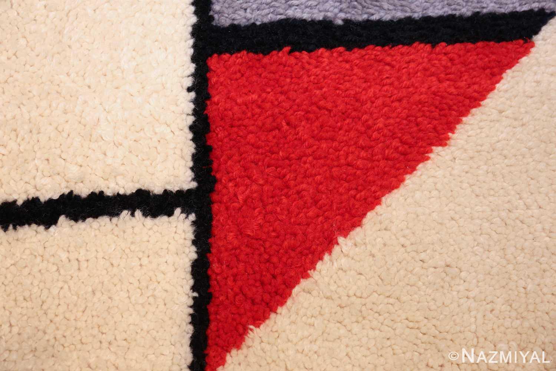 vintage modernist mondrian design scandinavian rug 49524 red Nazmiyal