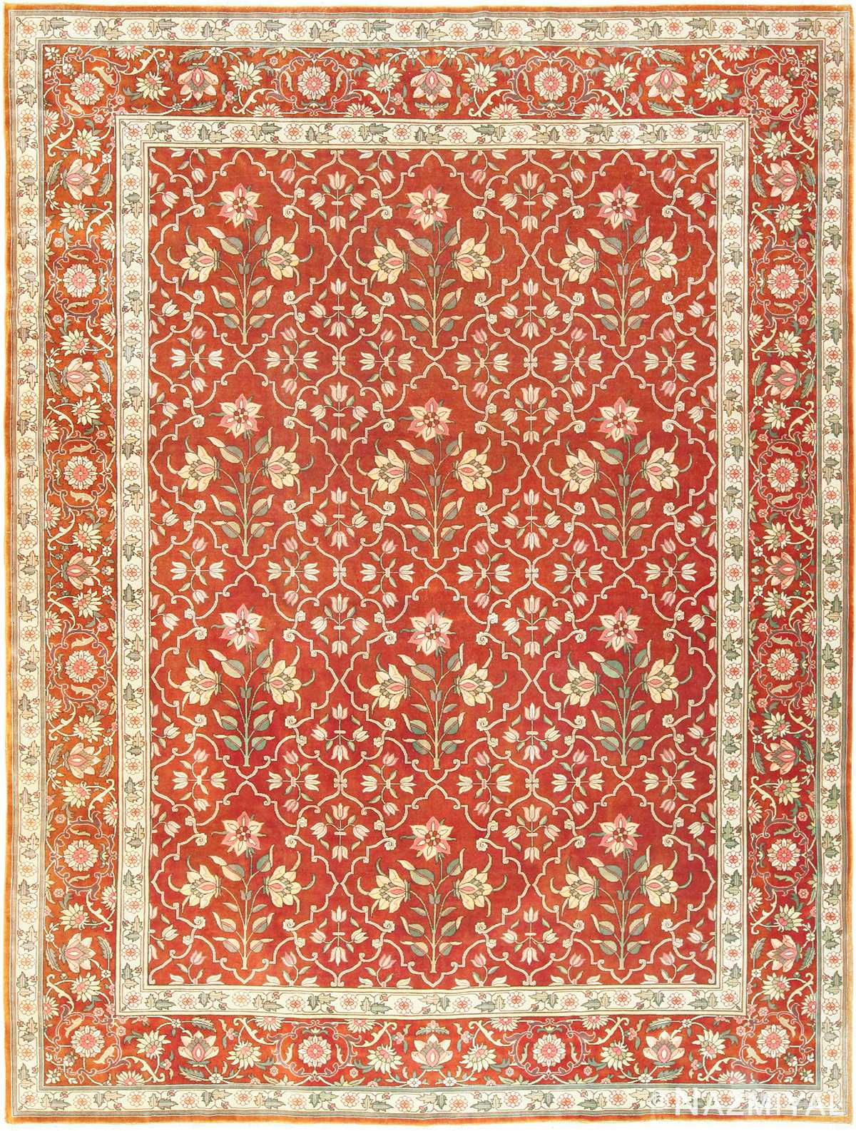 Floral Room Size Vintage Indian Rug 49477 Nazmiyal Persian