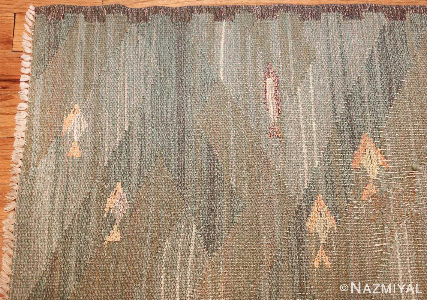 vintage scandinavian rug possibly by elsa gullberg 49504 corner Nazmiyal