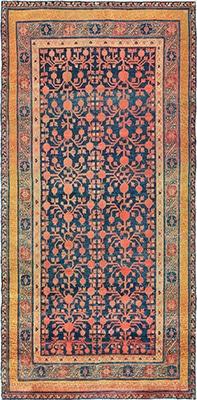 Antique Navy Background Pomegranate Design Khotan Carpet by Nazmiyal
