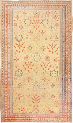 Pomegranate Design Oversized Antique Samarkand Khotan Rug by Nazmiyal