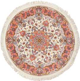 round silk and wool Persian Tabriz Rug 49558 Nazmiyal