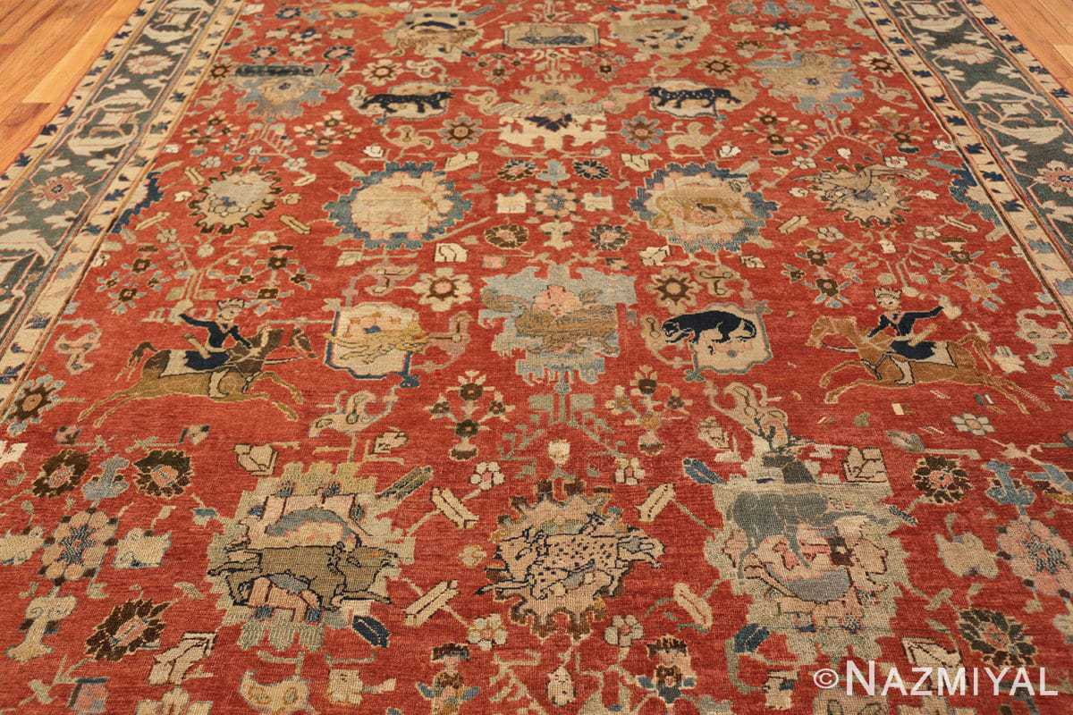 17th century hunting scene oversize isfahan persian rug 3025 all Nazmiyal