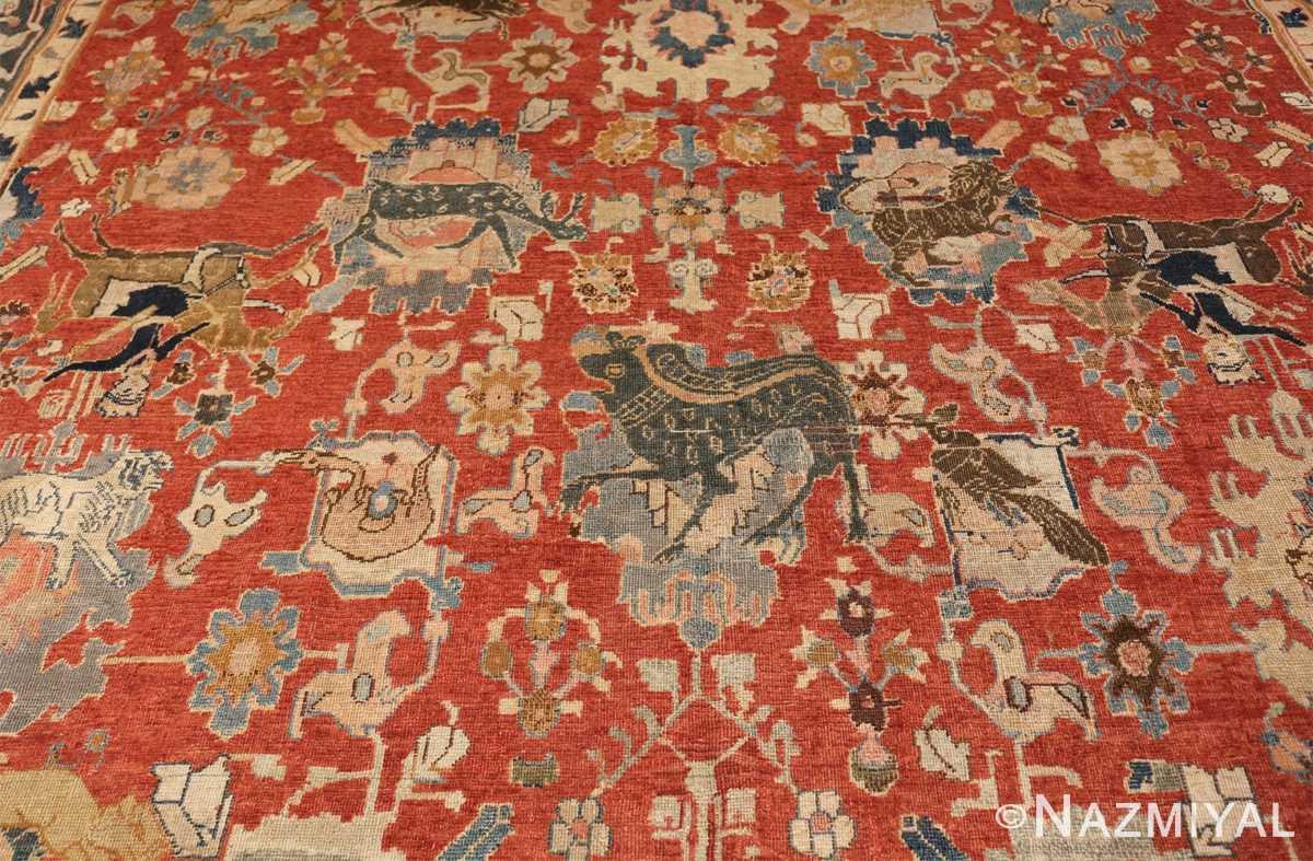 17th century hunting scene oversize isfahan persian rug 3025 black Nazmiyal