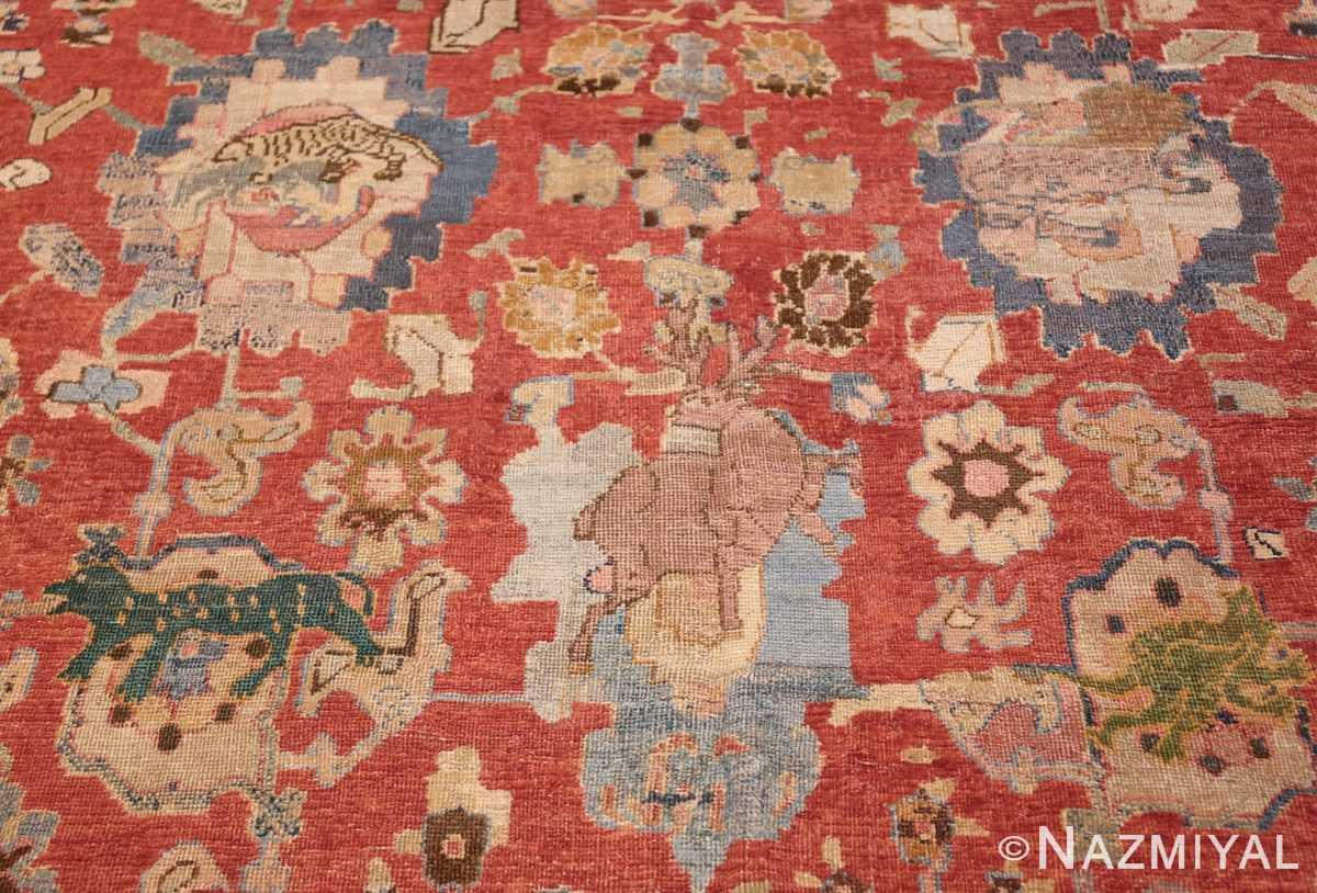 17th century hunting scene oversize isfahan persian rug 3025 deer Nazmiyal