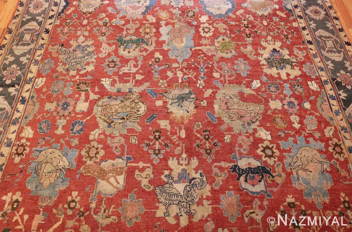 17th century hunting scene oversize isfahan persian rug 3025 field Nazmiyal