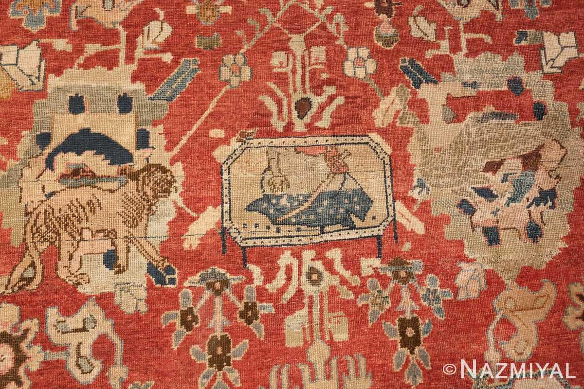 17th century hunting scene oversize isfahan persian rug 3025 man Nazmiyal