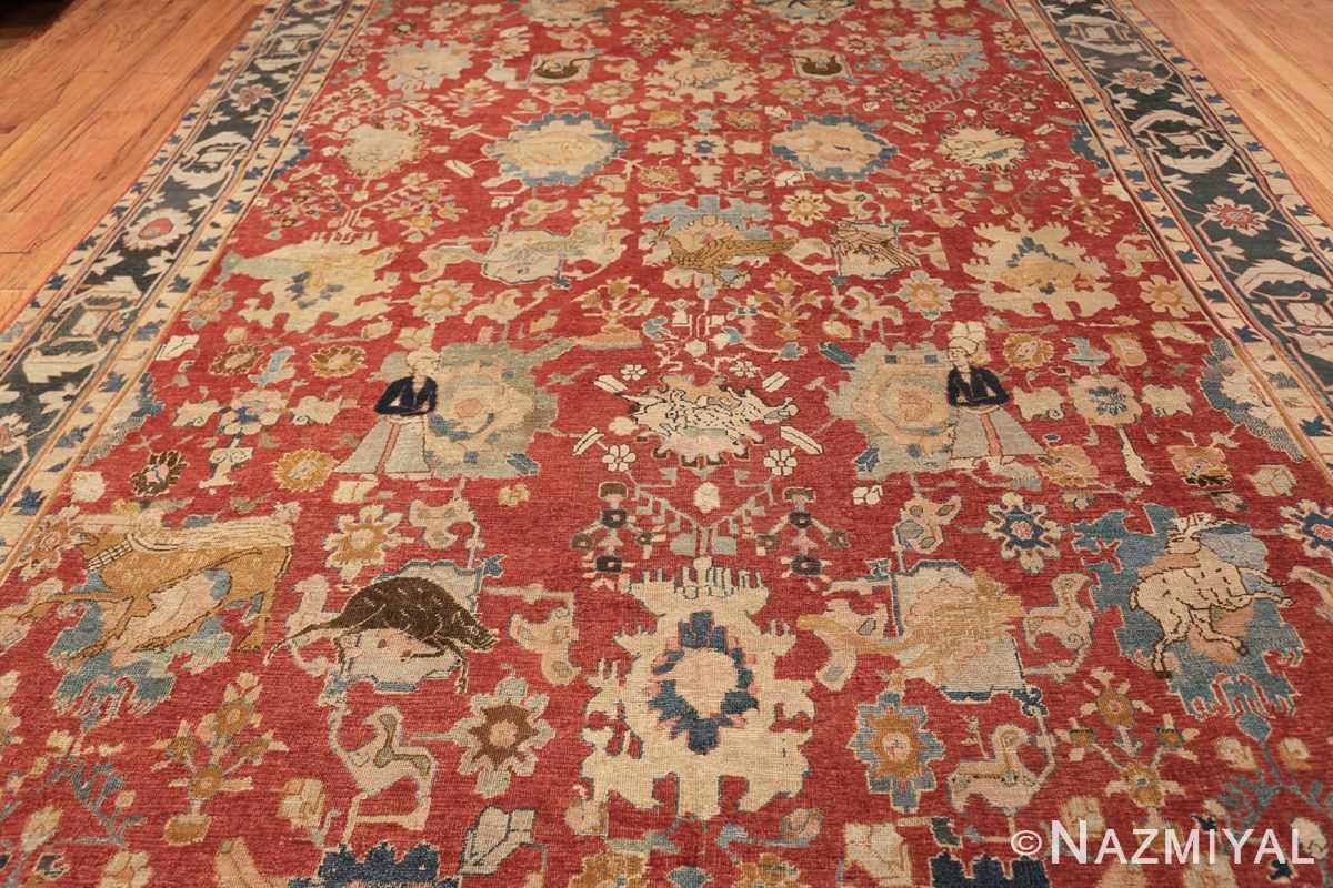 17th century hunting scene oversize isfahan persian rug 3025 students Nazmiyal