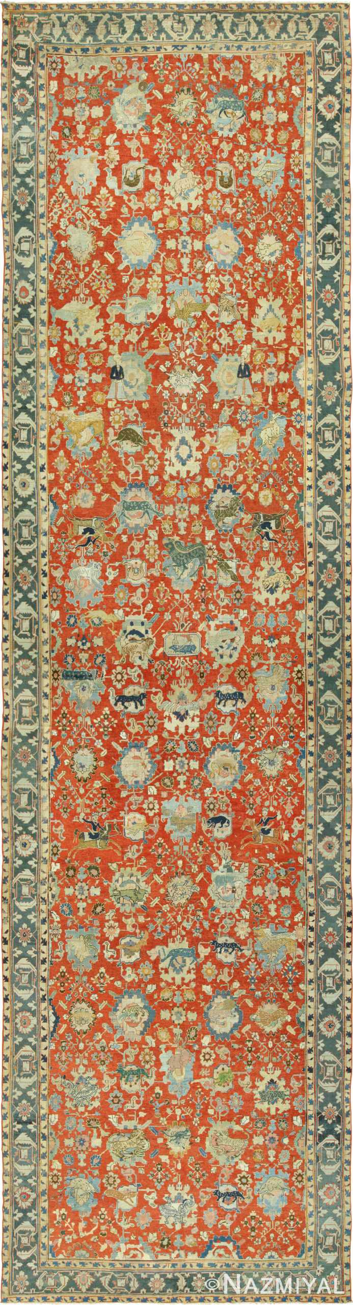 17th century hunting scene oversize Persian Isfahan Rug 3025 Nazmiyal