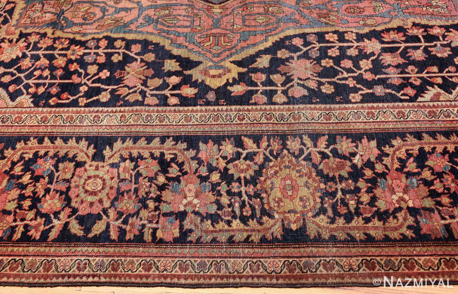 antique navy background farahan sarouk persian rug 49473 border Nazmiyal