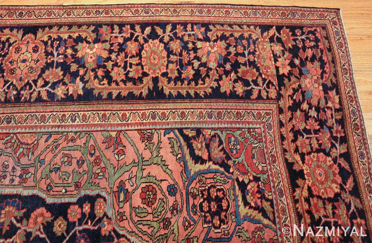 antique navy background farahan sarouk persian rug 49473 corner Nazmiyal