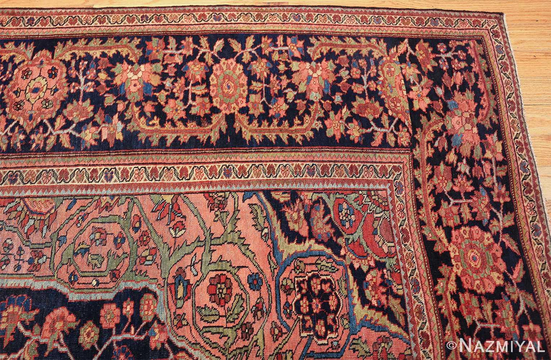 antique navy background farahan sarouk persian rug 49473 corner Nazmiyal